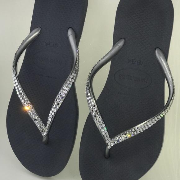 997fd830b7d3 Havaianas Shoes - ✨ Silver   Clear Swarovski Havaiana sandals ✨